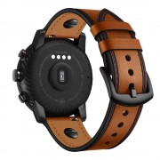 22mm Genuine Leather Watch Band Replacement for Samsung Gear S3/Galaxy Watch 46mm etc. - Brown