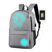 Multi-Function Large Capacity Oxford Cloth Light Grey Music Boy Luminous Backpack Casual Laptop Computer Bag with External USB Charging Interface for Men / Women / Student L Size: 48*29*17cm