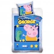 Lenjerie de pat din bumbac pentru copii Purcelușa Peppa Jumping George, 140 x 200 cm, 70 x 90 cm