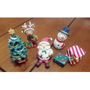 FinerMe Fine Work 5 Pcs Resin Craftwork Decorations Santa Claus/Christmas Tree/Snowman/Reindeer/Gift Box Dollhouse Creative Home Crafts Toy Christmas Gift Desk Decor Party ornaments