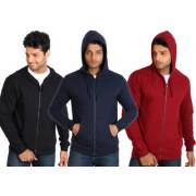 Campus Sutra Black Zipped Men Hooded Sweatshirt Option 7
