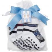 Baby Emporio- 3 paar Voetbal sokjes- (rood,blauw,zwart) voor baby 0-12 maanden-Anti slip zooltjes-Kraamcadeau-Baby shower-Cadeau zakje