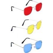 LAIYBA TEXTILES Rectangular Sunglasses(Red, Yellow, Blue)