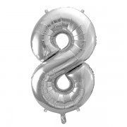 8. szám, fólia lufi, 86 cm, ezüst