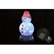 Vianočné dekorácie - Akrylový snehuliak - studeno biela