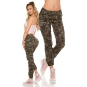 Cosmoda Collection Trendy camouflage cargo jeans leger-kleurig