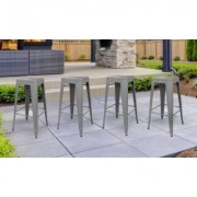 "AmeriHome Indoor or Outdoor 30"""" Metal Bar Stool Set Multiple Colors (Set of 4) Grey 30 inch"