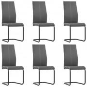 vidaXL Конзолни трапезни столове, 6 бр, сиви, изкуствена кожа