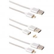 Callstel USB-Lade- & Datenkabel mit magnetischem Micro-USB-Stecker, 1m, 3er-Set