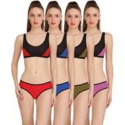 Fashion Comfortz Multicolor Cotton Lycra Plain One Piece