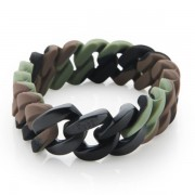 The Rubz Natural Silicone 15mm Unisex Bracelet Camo & Shiny Black
