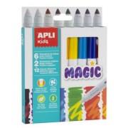 Filctoll készlet, 7,5 mm, APLI Kids Magic, 6+2 különböző szín (LCA16808)
