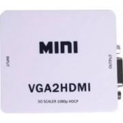 Adaptor OEM Mini HDMI la VGA Full HD 1080p video si audio stereo Alb