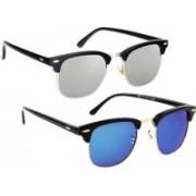FOX fusion Clubmaster Sunglasses(Silver, Blue)
