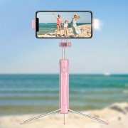 A18 0.8m Multi-functional Bluetooth Selfie Stick with LED Fill Light and Tripod for Android iOS - Pink