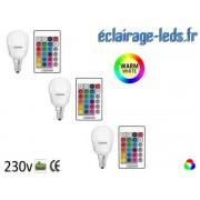 Lot de 3 ampoules LED E14 Blanc Chaud & Couleurs Télécommandée 4,3W ref dm-11