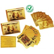 CARE CASE - Set of 2-24 K Gold Cards Foil Plated Good Quality Waterproof USD Golden Cards 100 Dollar Poker Playing Cards Plastic Deck Playing Card with Certificate