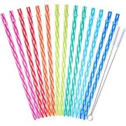 DIY Crafts with Cleaning Brush 12 Piece 11 inch Reusable Plastic Thick Drinking Straws BPA Free Mason Jar Straws Transparent Small Stripe 12 Colors