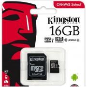Card de memorie Kingston Canvas Select microSDHC, 16 GB, 80 MB/s Citire, 10 MB/s Scriere, Clasa 10 UHS-I + Adaptor SD