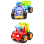 Morgan Sellers Unbreakable Construction toy set 2 pieces Tractor With Trolley Cement Mixer Toys for kids