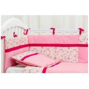 Lenjerie patut bebe cu 5 piese Blanite roz cu ciclam 60 x 120 cm