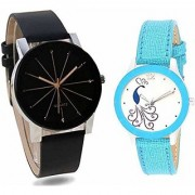 Analogue Round Dial Smart Black and Sky-Blue Leather Belt Couple Wrist Watches for Men WomenCouple Watches Set Stylis