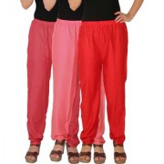 Culture the Dignity Women's Rayon Solid Casual Pants Office Trousers With Side Pockets Combo of 3 - Pink - Baby Pink - Red - C_RPT_PP2R - Pack of 3 - Free Size