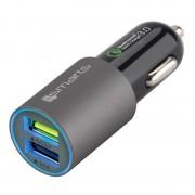Carregador Rápido de Isqueiro USB Duplo QC3.0 4smarts Rapid - 4A - Cinzento