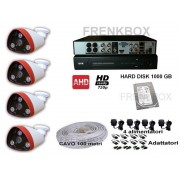 Kit videosorveglianza DVR 4 telecamere AHD 2mpx 1080p lente 4mm HDD