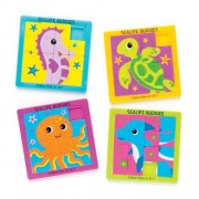 Baker Ross Sealfe Sliding Puzzles - 4 Fun Pocket Puzzles for kids. 4 designs: whale, octopus, sea turtle & sea horse. 63mm x 63mm size.