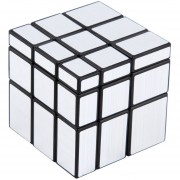 ER Nuevo 3 X 3 X 3 Cubo Mágico Puzzle Regla Espejo Inteligencia Juego De Juguetes Para Niños Plata.