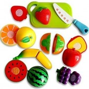 Play-Hub Realistic Sliceable Fruits Cutting Play Toy Set | Can Be Cut in 2 Parts | Fruit and Vegetables Cutting Play Toy Chopping Cutter with Velcro (Multi Color)