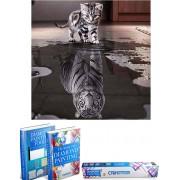 Crafterman™ Diamond Painting Pakket Volwassenen - Kat wordt Tijger - 40x40cm - volledige bedekking - vierkante steentjes - 35 verschillende kleuren - hobby pakket - Met tijdelijk 2 E-Books