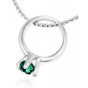 Romantiskt Silverfärgat Smycke med 10x8 mm Hänge av Liten Ring med Mörk-Grön Sten
