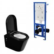 [neu.haus]® Тоалетна чиния за вграждане в стената с казанче - Черна