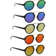 MARC JONES Round Sunglasses(Green, Blue, Orange, Yellow)