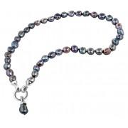 JwL Luxury Pearls Náhrdelník z pravých kovově modrých perel JL0561