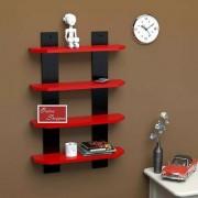 Onlineshoppee Floating MDF 4 Shelf Ladder Shape Wall Shelves - Red Black