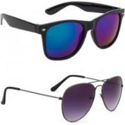 Elgator Aviator, Wayfarer Sunglasses(Blue, Violet)