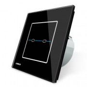 Intrerupator dublu cu touch Livolo din sticla - Seria R Negru