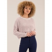 CheapChic Wave Goodbye Cropped Knit Sweater Palepink