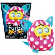 Hasbro Year 2013 Furby Boom Series 5 Inch Tall Electronic App Plush Toy Figure - White and Pink Polka Dots Pattern FURBY