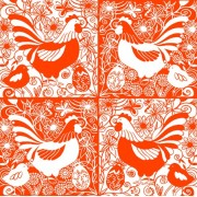 Lunchservet Easter Birds orange