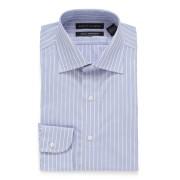 【86%OFF】ストライプ スプレッドカラー スリム フィットシャツ ライトブルー 16/32 ファッション > メンズウエア~~その他トップス