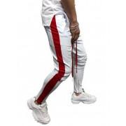 Zaful Pantalon de Sport avec Rayures sur le Côté Couleurs Contrastées Blanc M