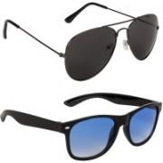 Marabous Aviator, Wayfarer Sunglasses(Black, Blue)