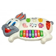 RK Toys Rabbits Musical Piano with 3 Modes Animal Sounds, Flashing Lights & Wonderful Music Piano for Kids (Rabbit Piano - 1, Multicolour)