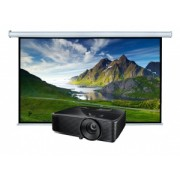 Videoproiector OPTOMA HD144X, Full HD 1920x1080 + Ecran proiectie electric perete Blackmount, vizibil 200x113cm