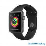 Apple Watch Series3 42mm Aluminium Silver Plastic Sport Band Pure Platinum Black MQL32