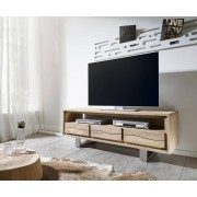 DELIFE TV-meubel Live-Edge 146 cm acacia champagne 3 laden 1 vak